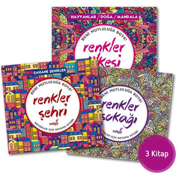 Büyükler Için Renkler Boyama Kitabı Seti 3 Kitap ürünler Indigo
